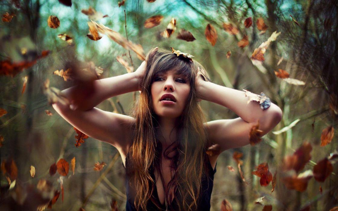 women autumn leaves long hair wallpaper
