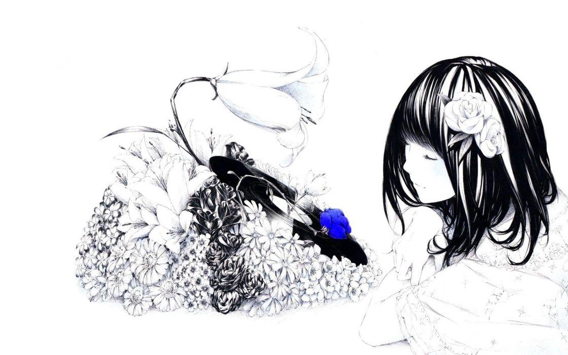 anime selective coloring simple background original characters Sawasawa wallpaper