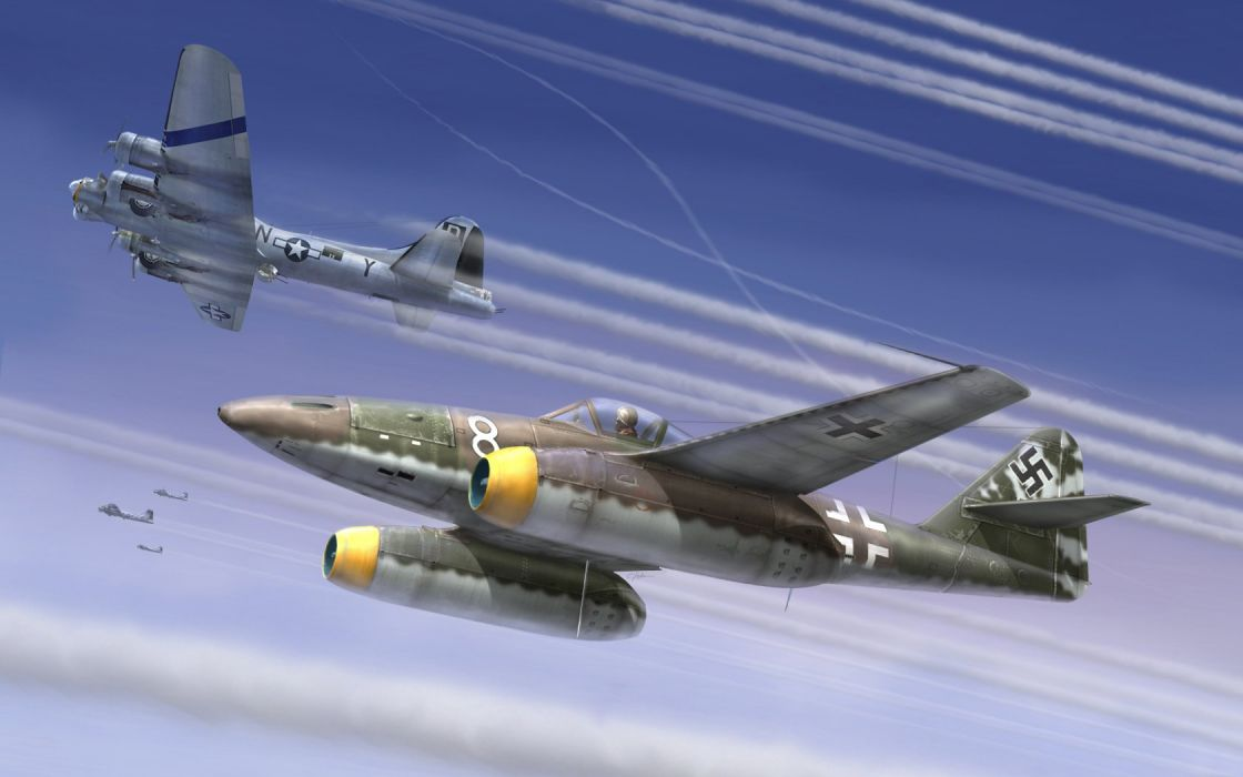video games aircraft Messerschmitt Luftwaffe planes B-17 Flying Fortress Me 262 Schwalbe contrails low-angle shot wallpaper
