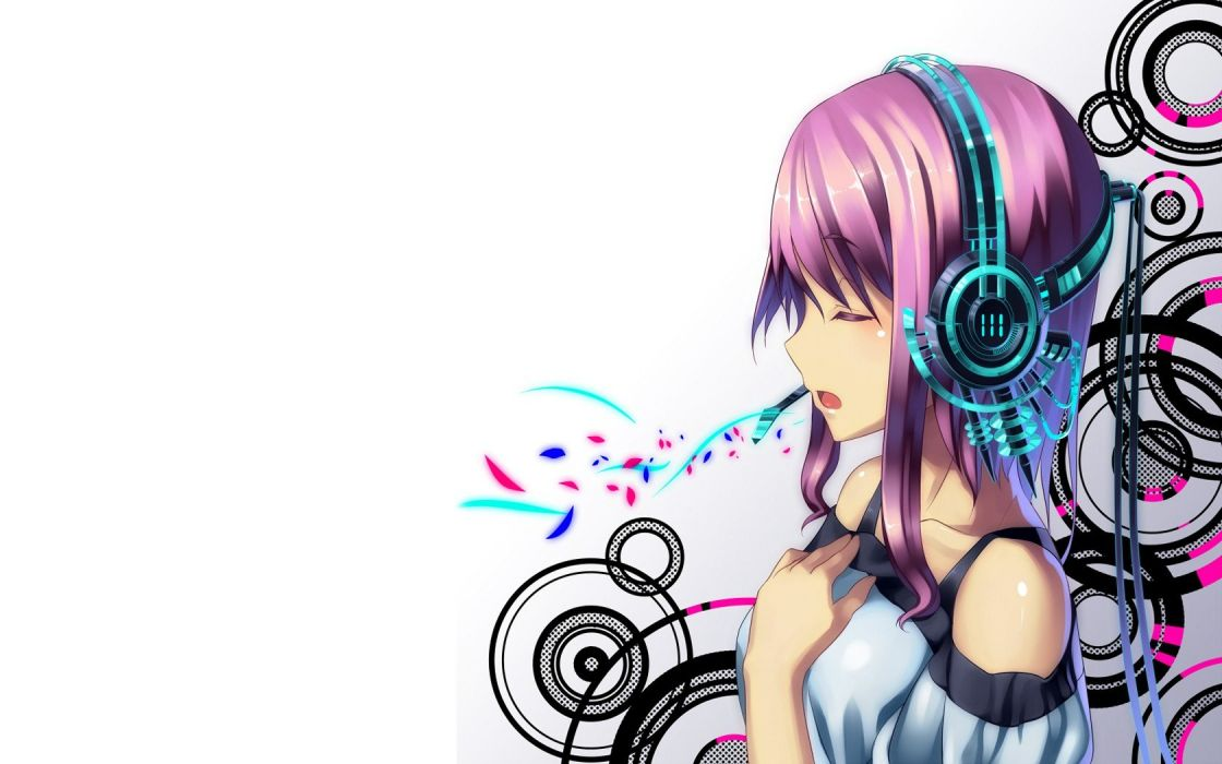 headphones abstract multicolor patterns pink hair short hair anime girls white background wallpaper