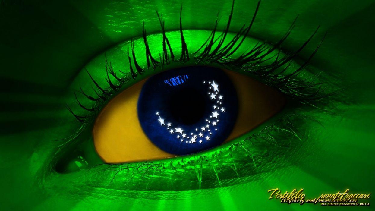 green blue eyes yellow blue eyes Brazil digital art wallpaper