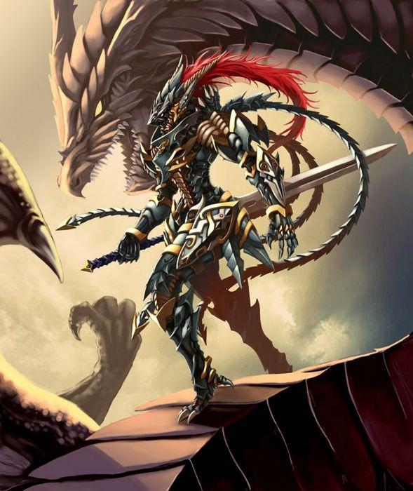 dragons knights fantasy art Yu-Gi-Oh! wallpaper