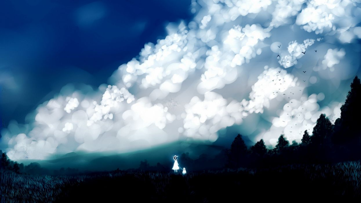 clouds landscapes nature trees dress forests birds grass dogs long hair outdoors scenic white dress skyscapes hats anime girls black hair skies original characters wallpaper