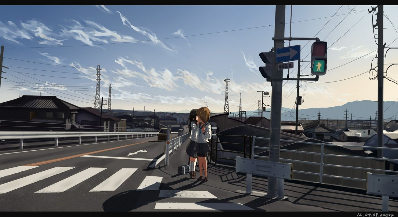 brunettes cityscapes school uniforms kissing yuri scenic bike shorts anime skyscapes anime girls wallpaper