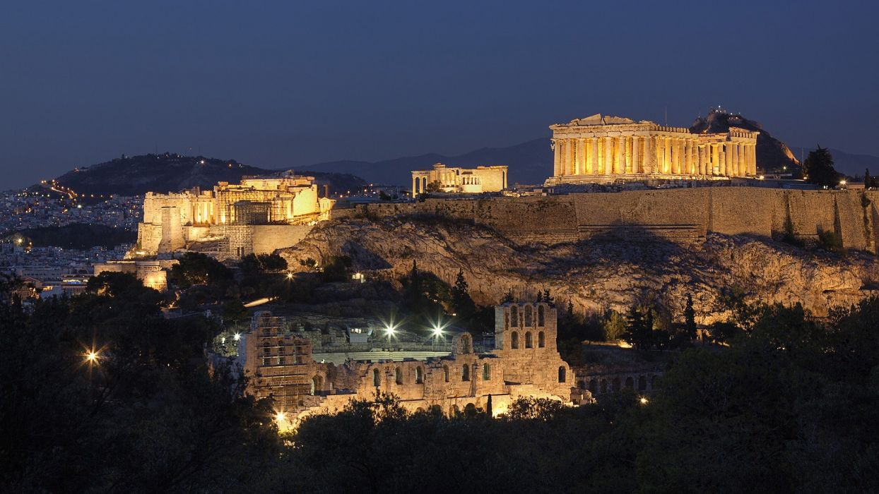mountains cityscapes night Greece historic Athens Acropolis Parthenon cities wallpaper