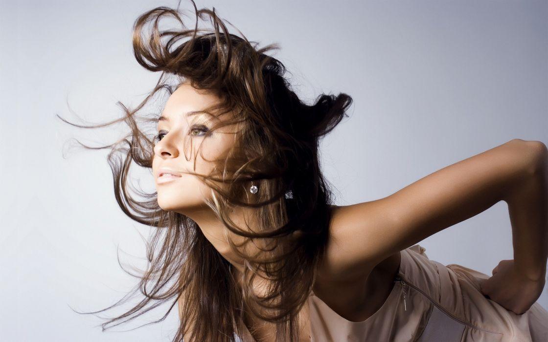brunettes women models earrings hair toss white background wallpaper