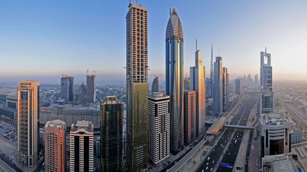 landscapes sand cityscapes deserts Dubai United Arab Emirates desert city Arabic Arabian wallpaper