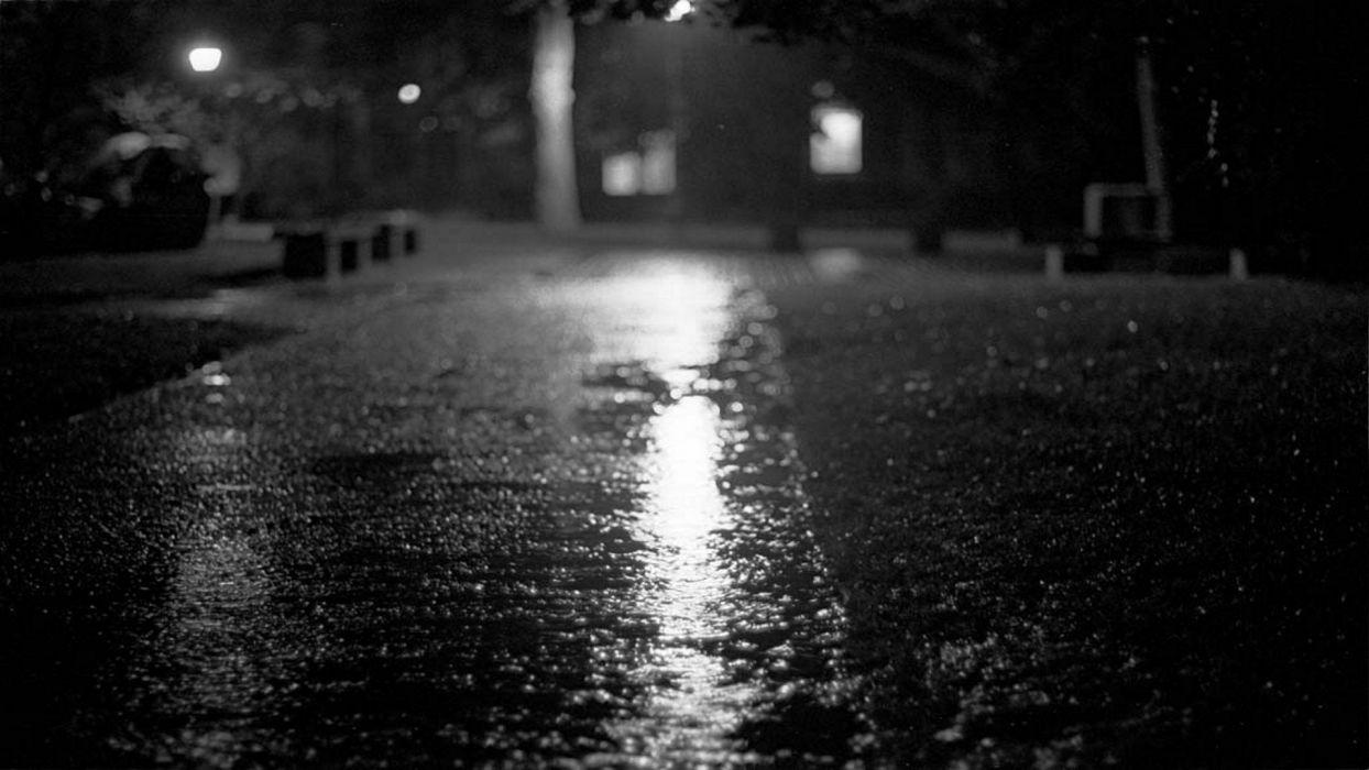 streets night monochrome wallpaper