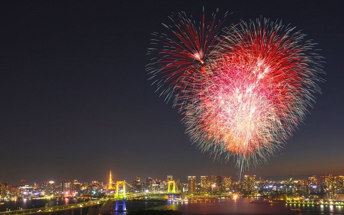 cityscapes fireworks hearts wallpaper