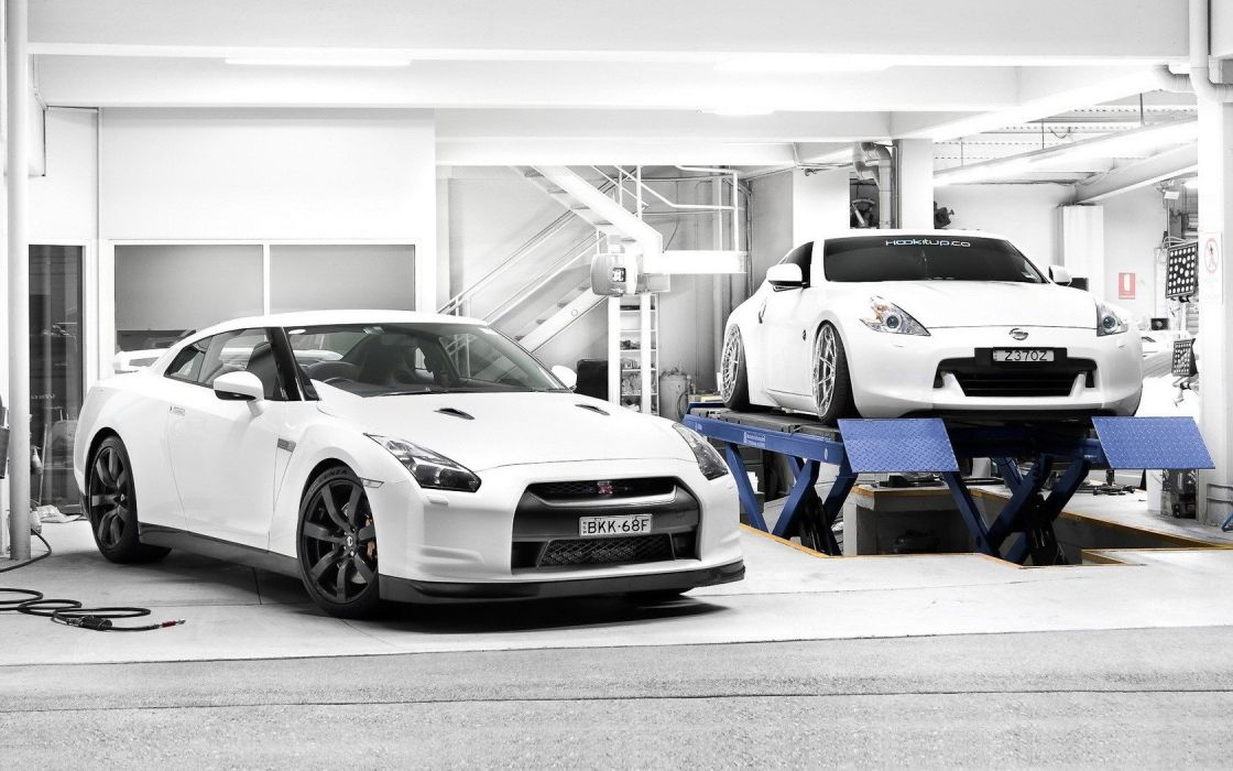 cars Nissan garages Nissan 370Z white cars JDM Japanese domestic market Nissan GT-R wallpaper