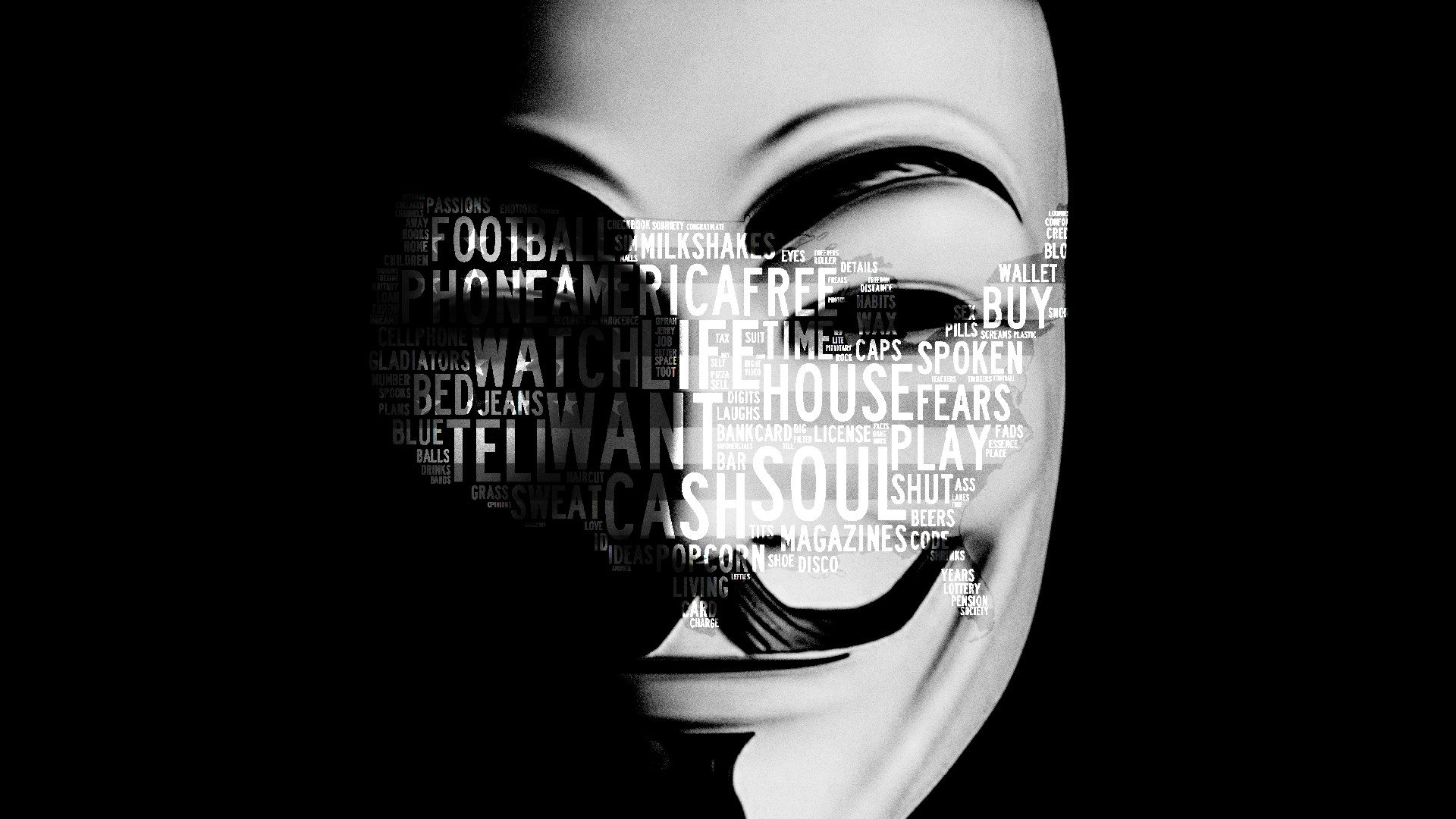 Anonymous Typography Usa Soul Masks Guy Fawkes Commercial