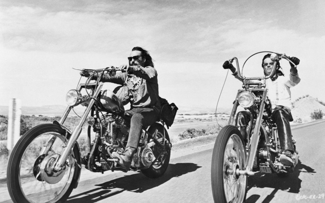 movies screenshots Easy Rider monochrome Dennis Hopper Choppers Peter Fonda wallpaper