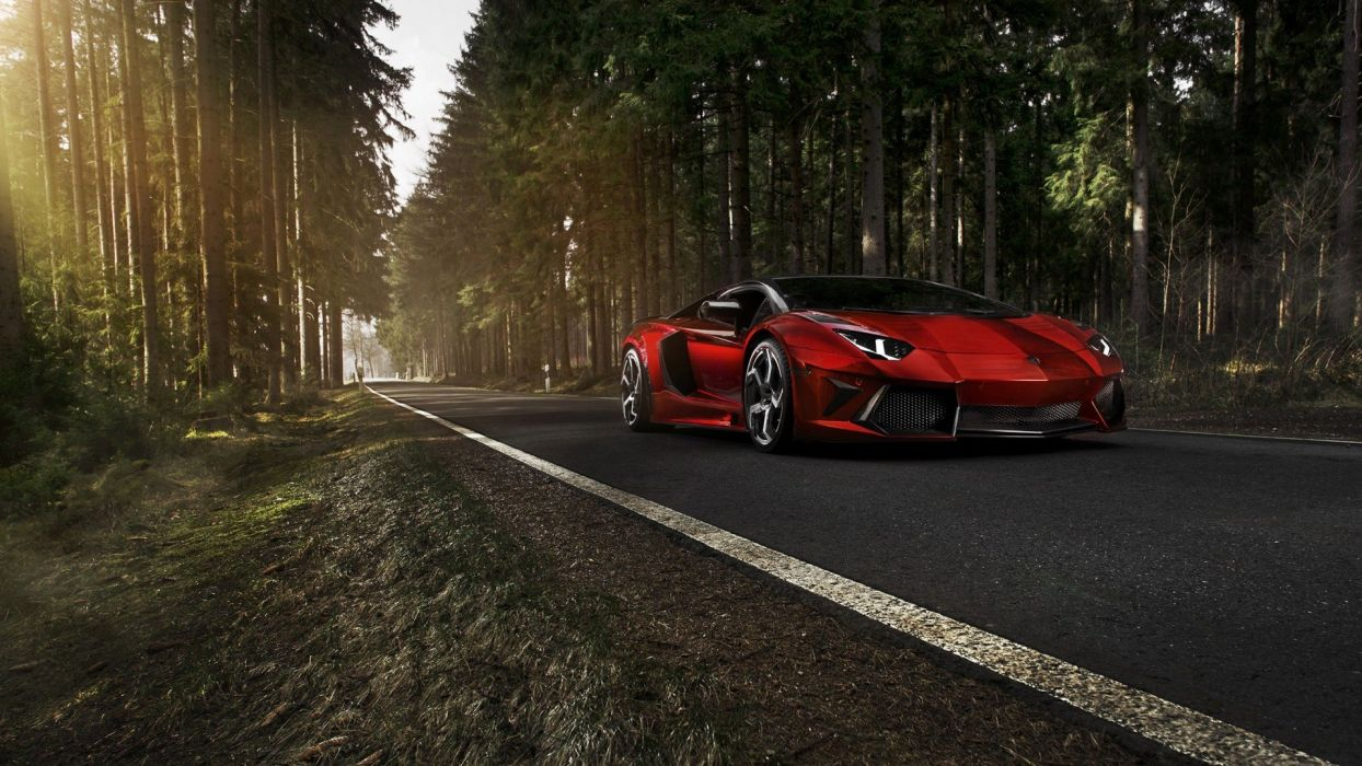 forests cars roads vehicles tuning Lamborghini Aventador red cars Mansory tuned Lamborghini Aventador Mansory wallpaper