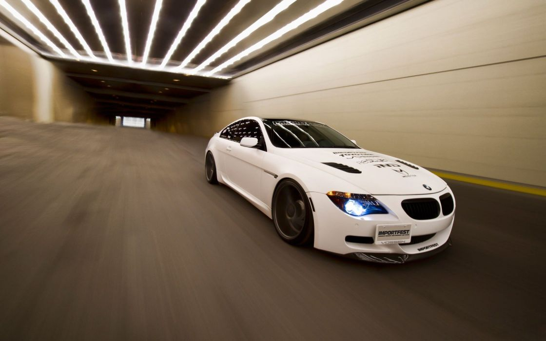 BMW cars tunnels tuning white cars BMW M6 wallpaper