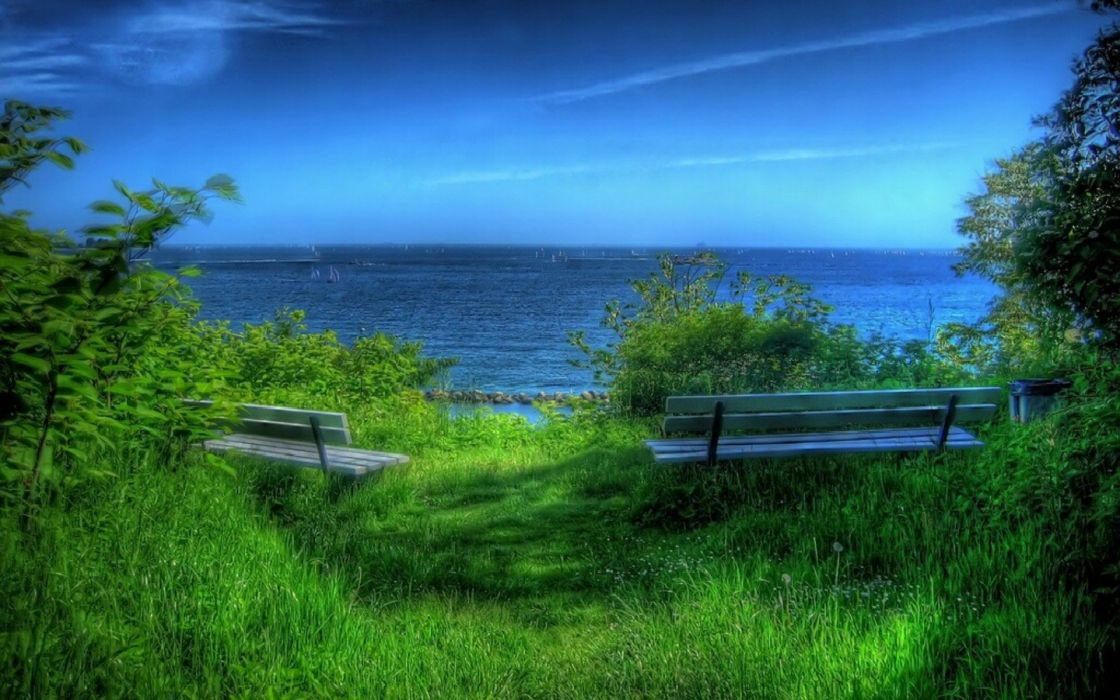 blue landscapes nature bench HDR photography sea wallpaper