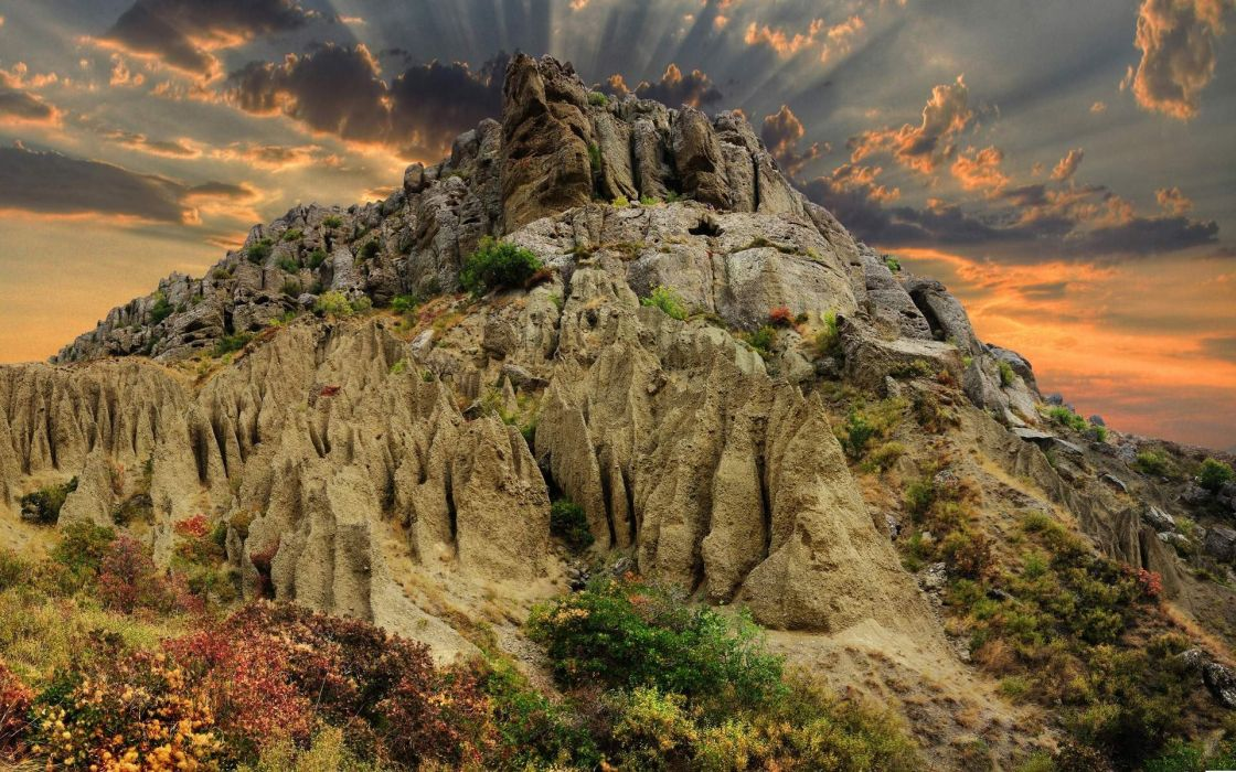 mountains rocks HDR photography wallpaper