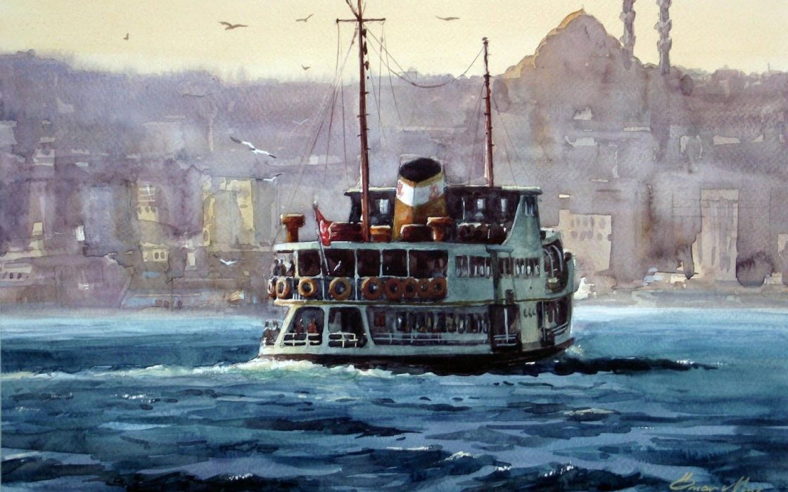 cityscapes Turkey artwork Turkish Istanbul cities steamship paintwork wallpaper