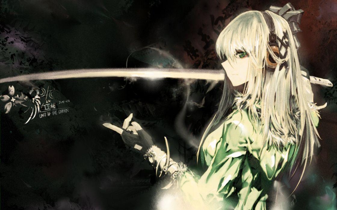 headphones Touhou katana Konpaku Youmu grado swords upscaled Lowlight Kirilenko wallpaper