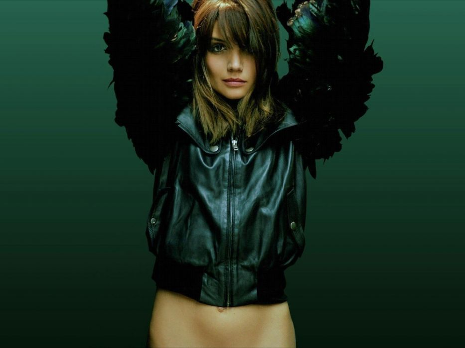 women actress Katie Holmes stomach leather jacket simple background exposed midriff green background arms raised bangs wallpaper