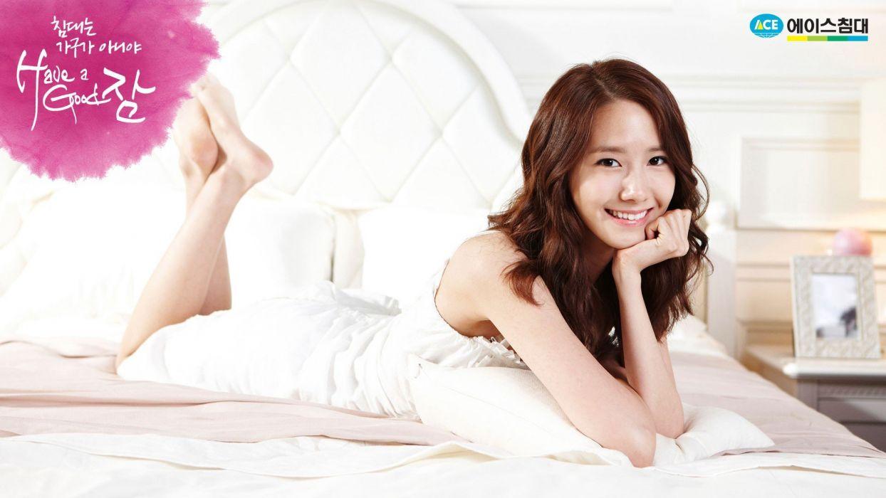 brunettes women music beds models pop Girls Generation SNSD celebrity Asians Korean Korea Im YoonA K-Pop South Korea wallpaper
