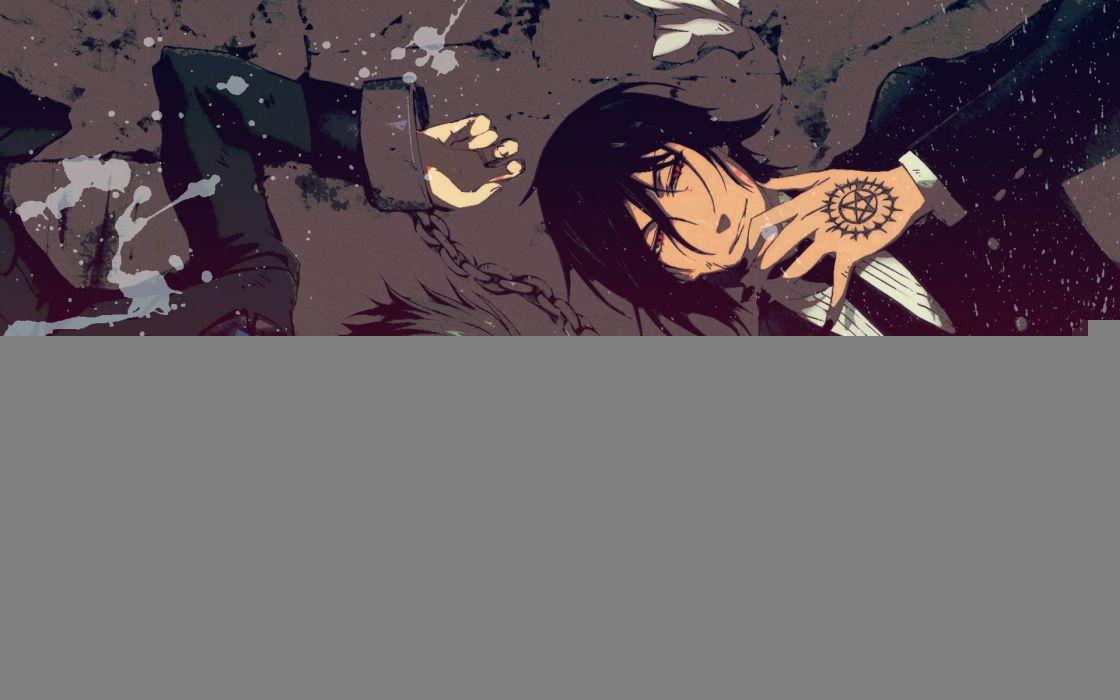 suit Kuroshitsuji Ciel Phantomhive Sebastian Michaelis anime anime boys chains roses butler wallpaper