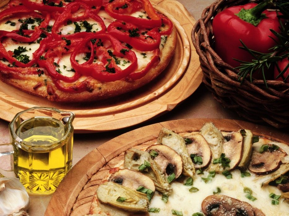 oil food pizza mushrooms garlic wallpaper