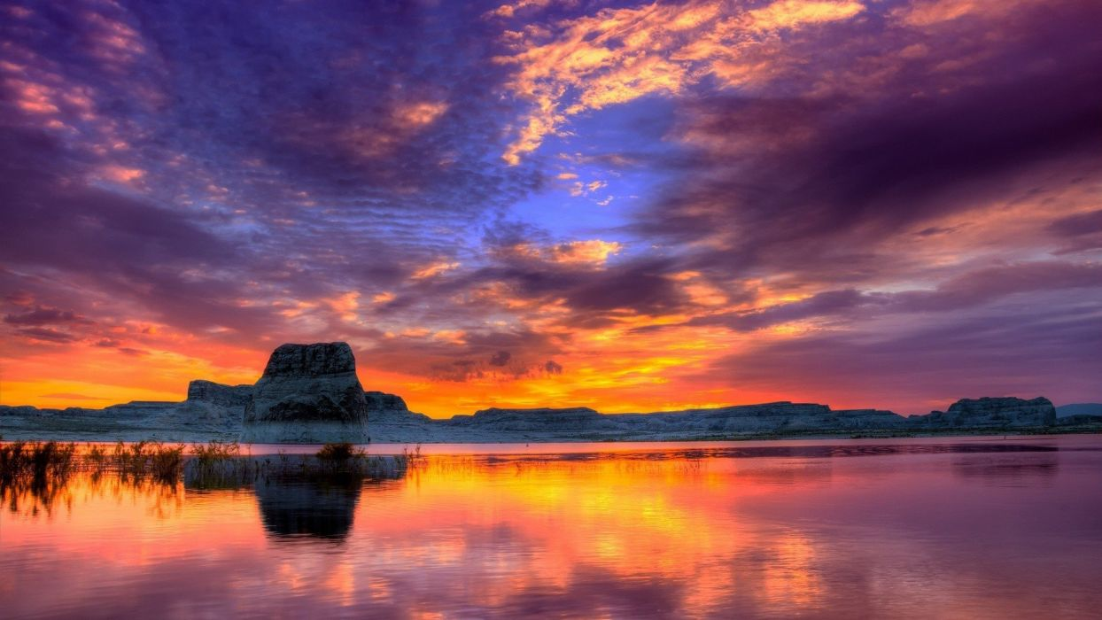 Nature Lake Sunset Landscape Ultrahd 4k Wallpaper Wallpaper