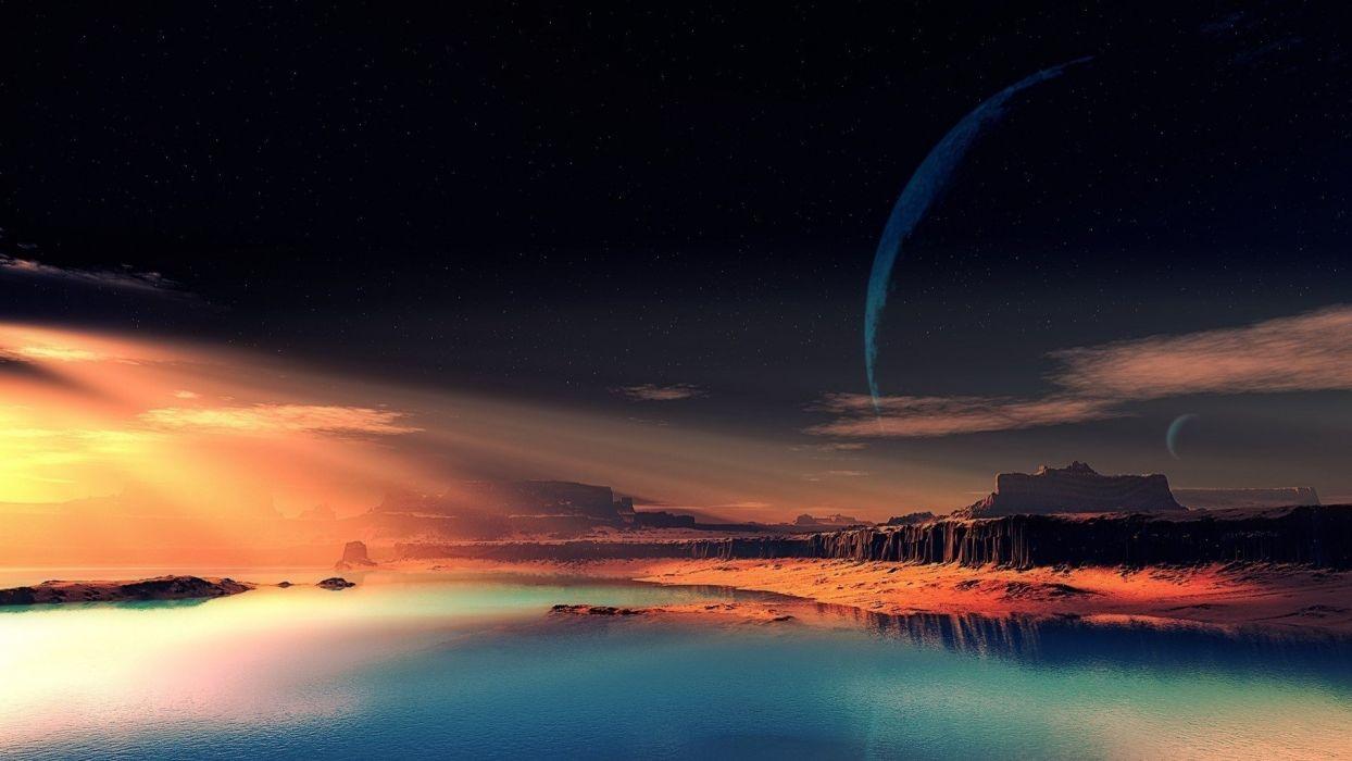 Oceanscape sunset sunbeam hd wallpaper