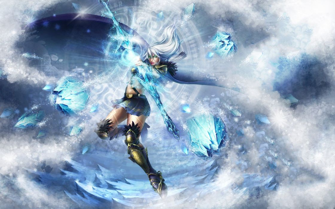 ice blue League of Legends arrows Ashe the Frost Archer wallpaper