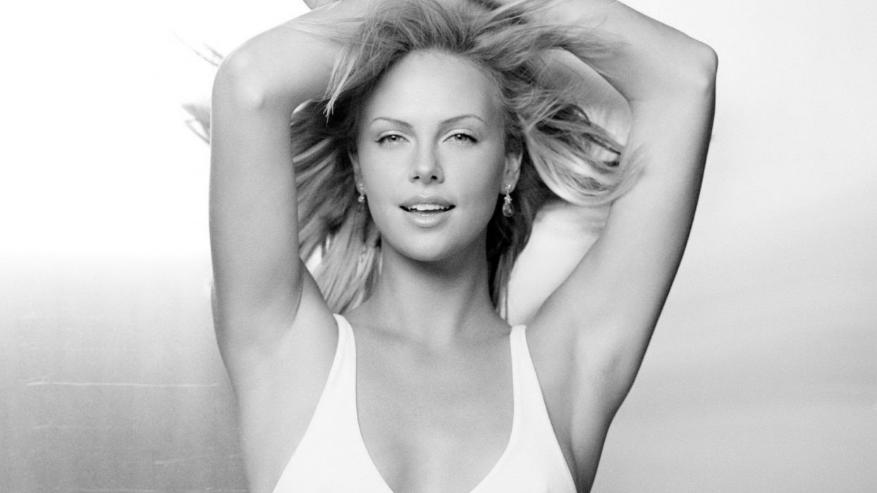 lingerie blondes women Charlize Theron monochrome wallpaper