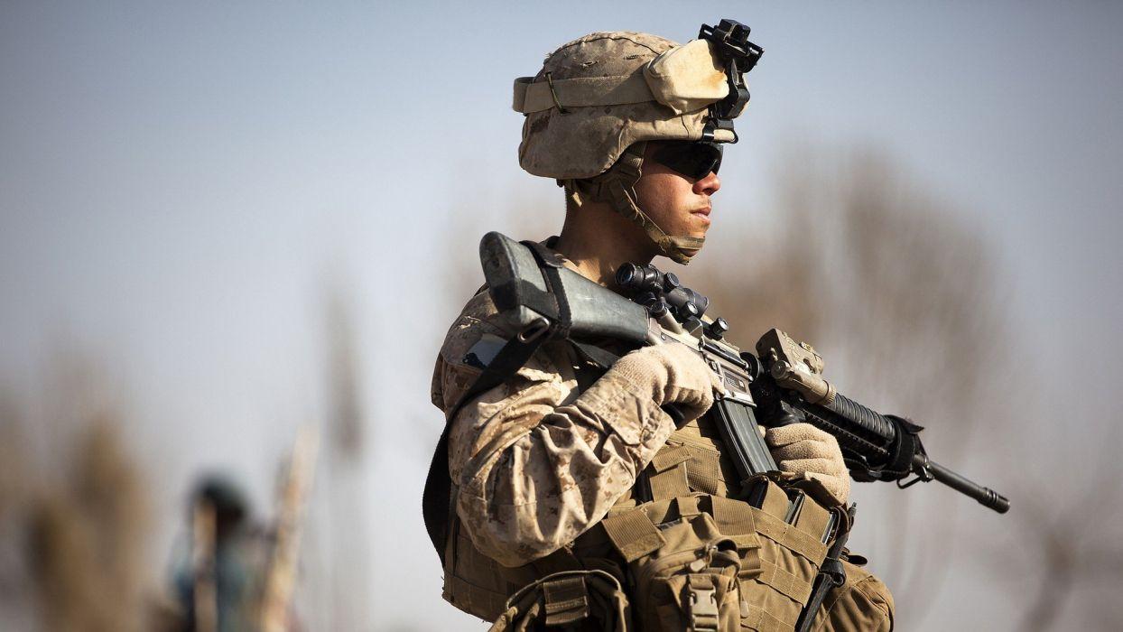 soldiers war guns army Afghanistan US Marines Corps soldat M16A4 ACOG wallpaper