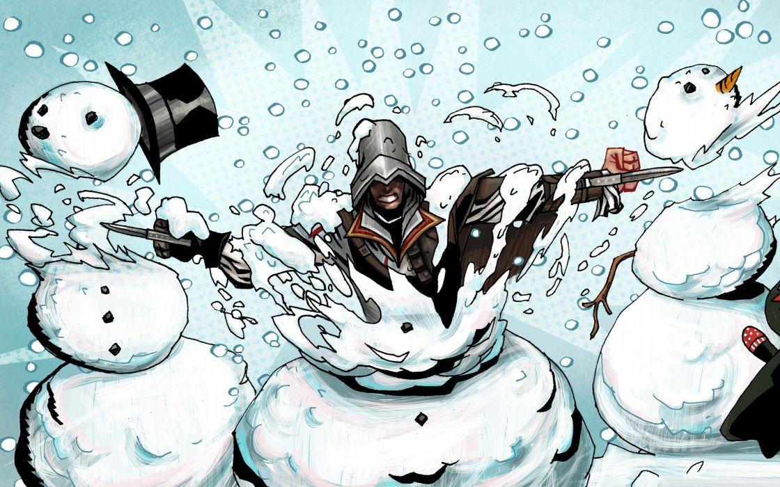 Assassins Creed happy snowmen holidays wallpaper