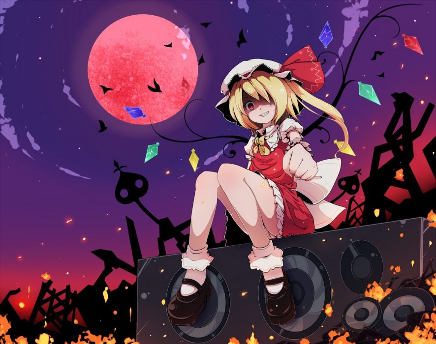 blondes Touhou wings Moon long hair weapons socks vampires red eyes crystals smiling bows grin sitting spears ponytails Flandre Scarlet skyscapes hats Full Moon Laevateinn hair in face wallpaper