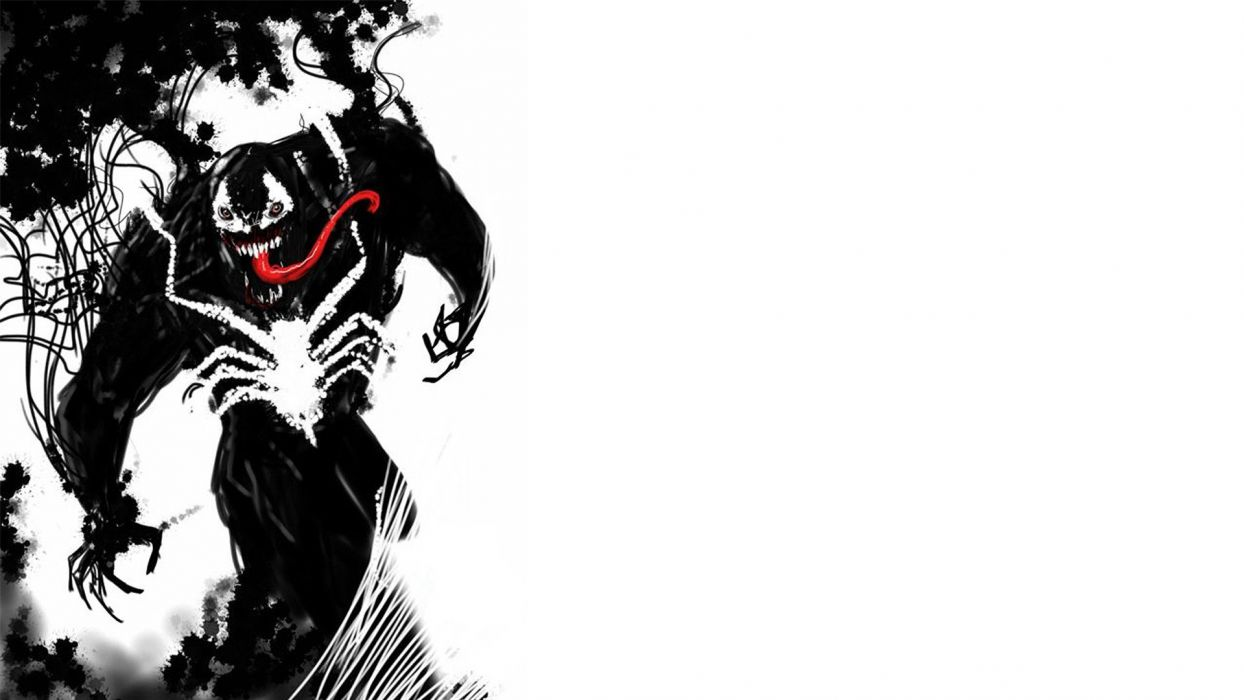 Venom marvel comics symbiote costume fan art white - Black and white spiderman wallpaper ...