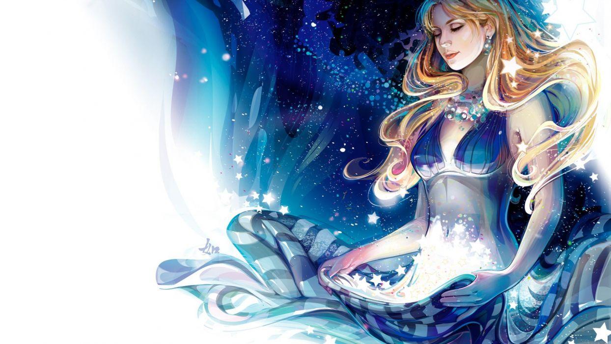 blondes women abstract stars earrings digital art artwork Milky Way drawn blue dress wallpaper