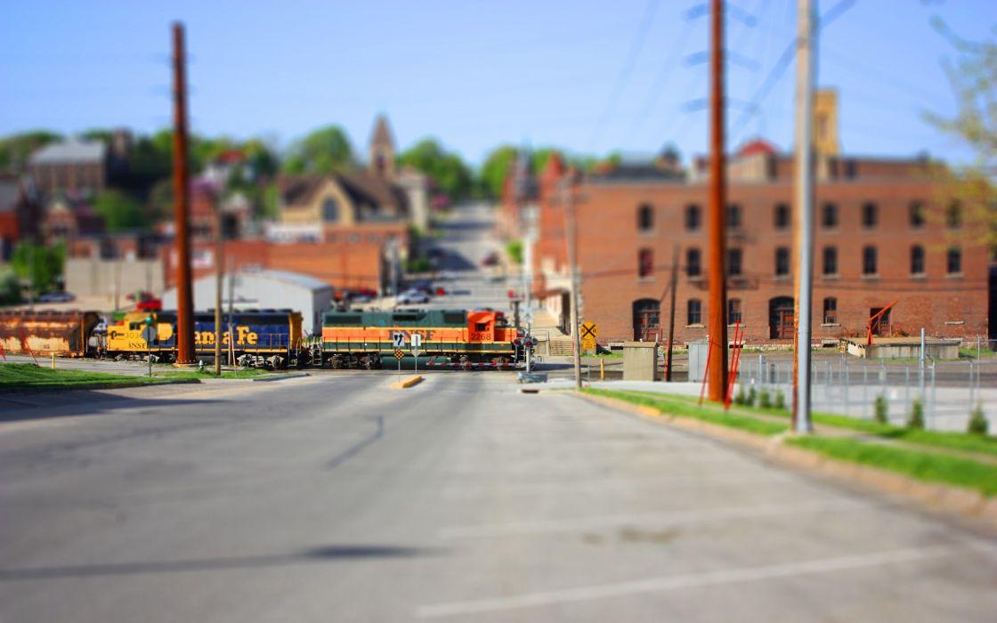 cityscapes streets trains tilt-shift locomotives wallpaper