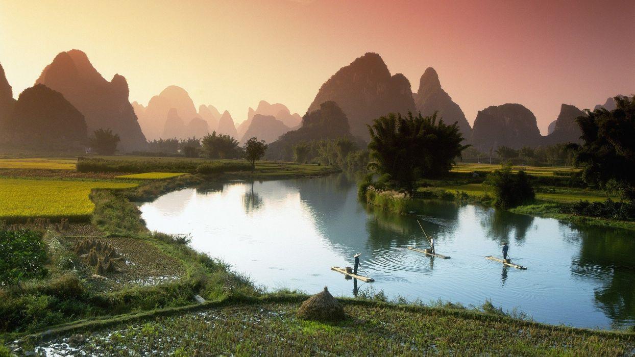 China fishing rivers wallpaper