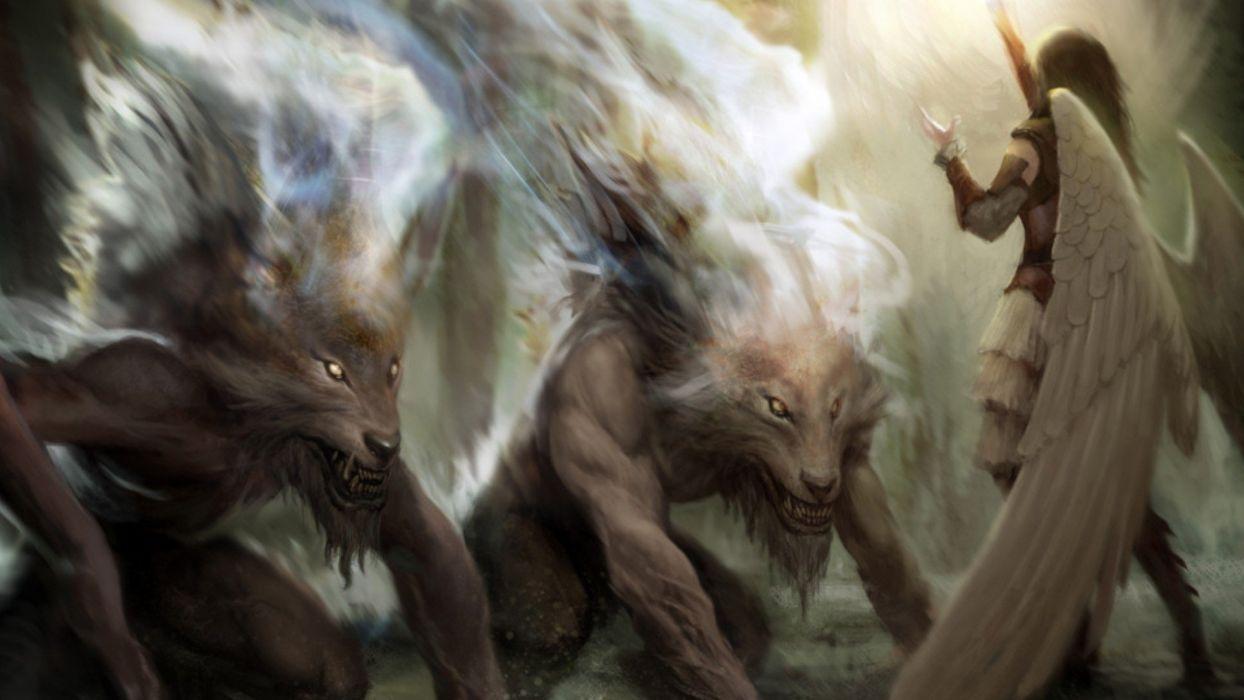 angels Magic: The Gathering fantasy art artwork werewolves wallpaper