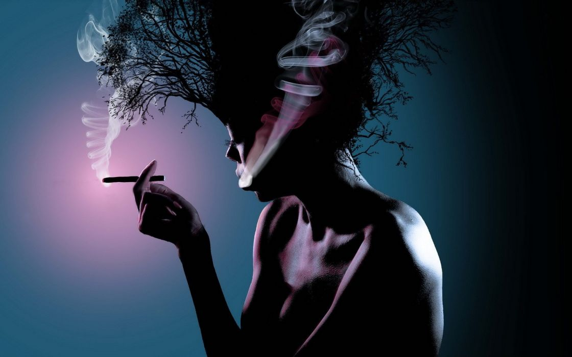 women smoking trees wallpaper