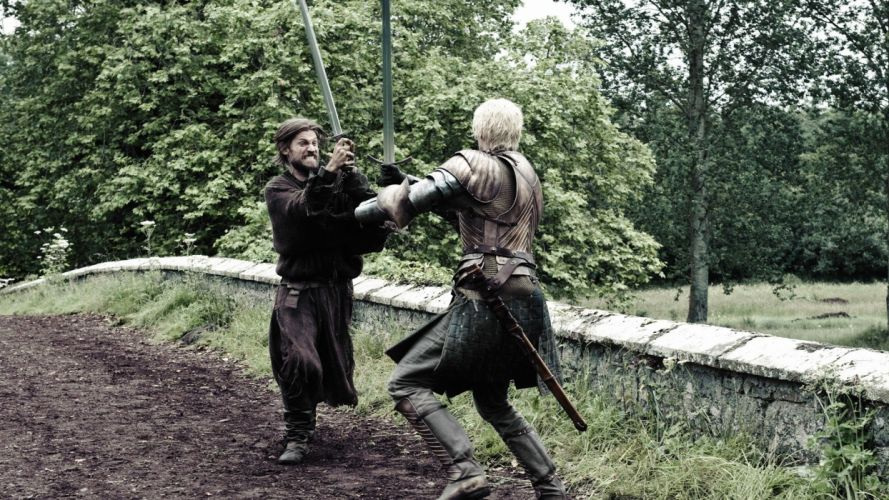 actors Game of Thrones TV series swords dark wings Jamie Lannister Brienne of Tarth wallpaper