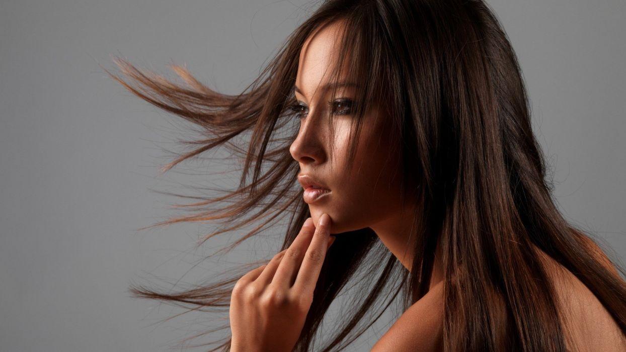 brunettes women close-up models Asians Asia wallpaper
