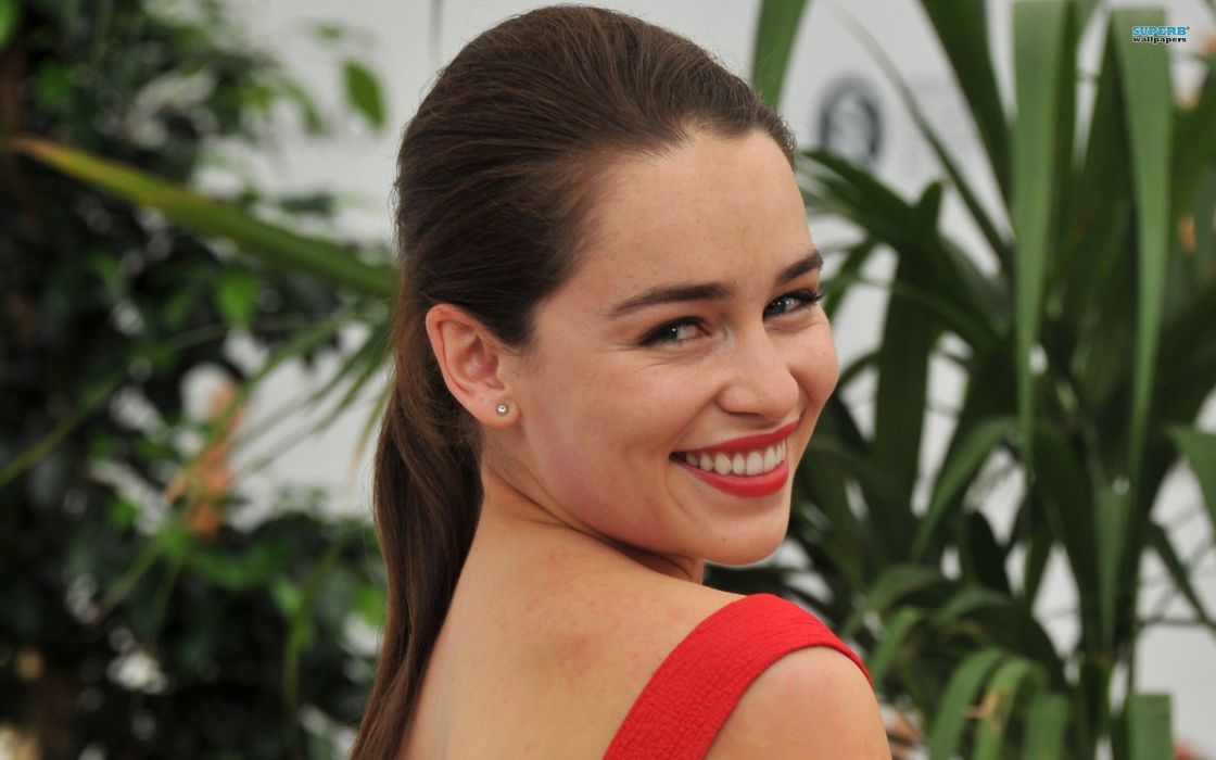 brunettes women red smiling red dress Emilia Clarke wallpaper