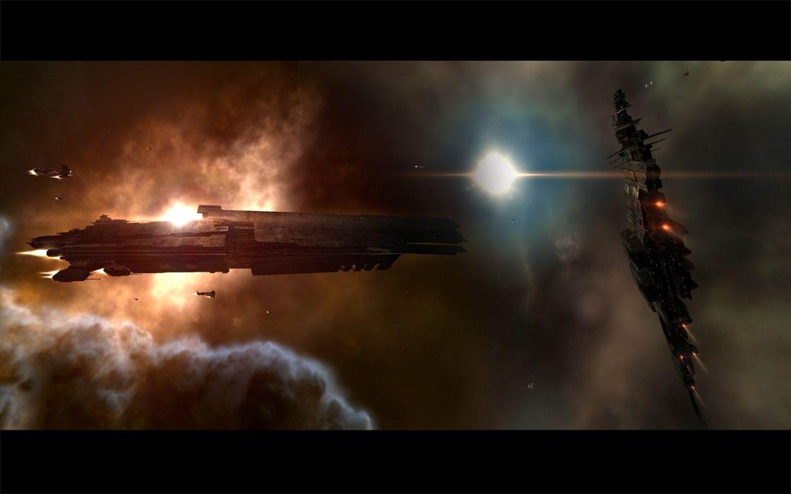 spaceships digital art wallpaper