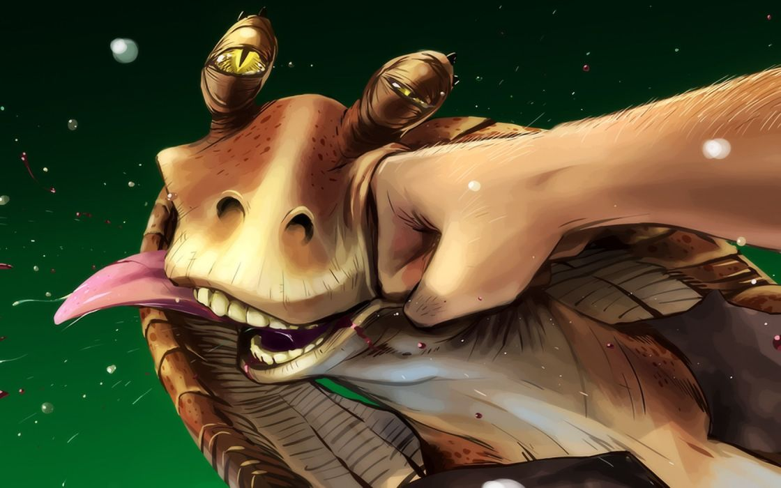 cartoons Star Wars Jar Jar Binks punch faces wallpaper