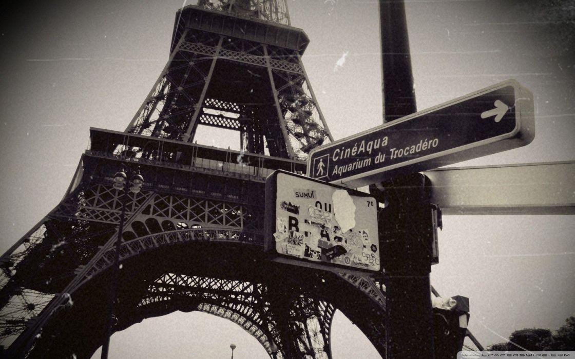 Eiffel Tower Paris Dark Vintage Grayscale Tour Wallpaper