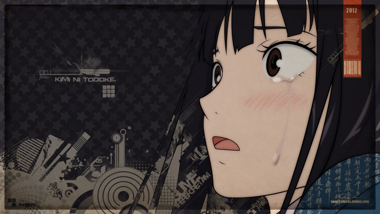 stars tears long hair brown eyes Kimi ni Todoke blush open mouth crying Kuronuma Sawako anime girls faces black hair wallpaper