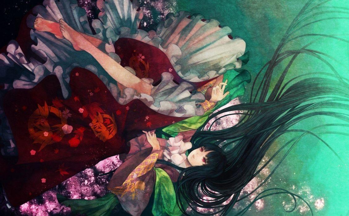 water video games Touhou dress floating princess skirts long hair barefoot red eyes Houraisan Kaguya bows anime girls hime cut underwater black hair wallpaper