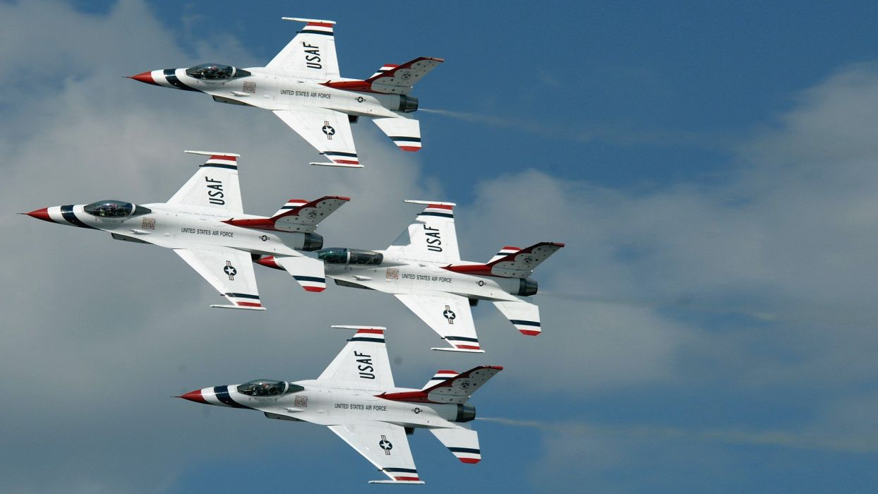 airplanes F-16 Fighting Falcon jet aircraft widescreen USAF Thunderbirds Thunderbirds wallpaper