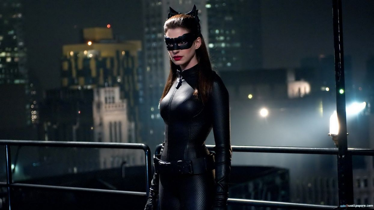 Anne Hathaway Batman actress costume Catwoman Batman The Dark Knight Rises wallpaper