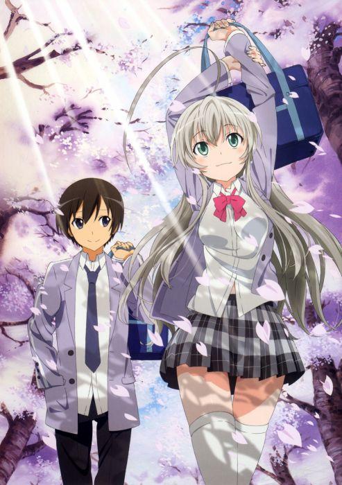 brunettes cherry blossoms school uniforms anime anime boys gray hair anime girls Haiyore! Nyaruko-san Nyaruko Yasaka Mahiro wallpaper